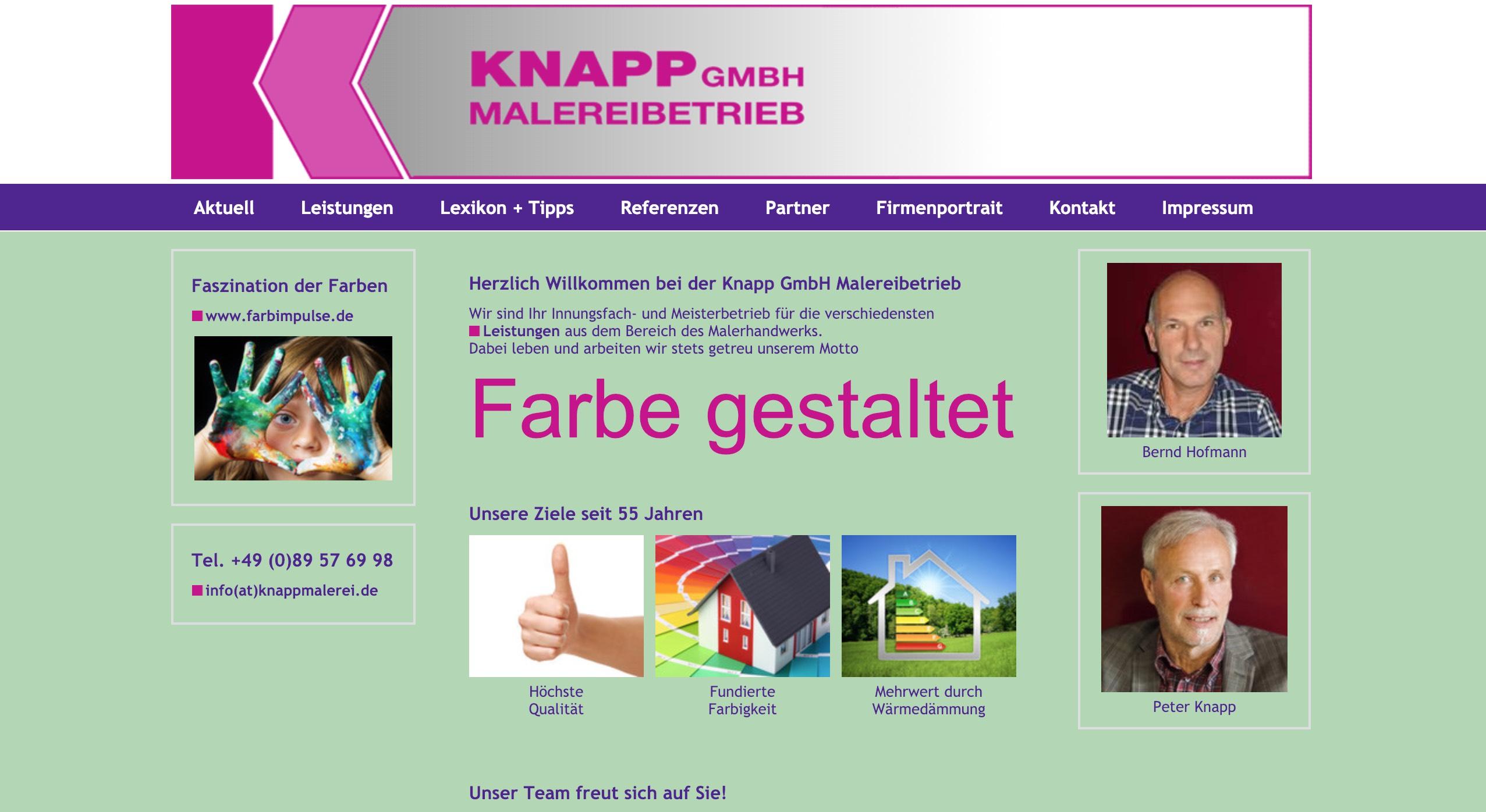 Knappmalerei Webseite Screenshot